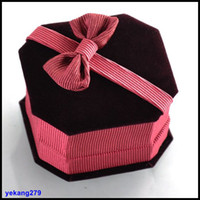 Wholesale Top Grade Bow Jewelry Boxes Jewellery Gift Box For Stud Earrings Finger Rings Packaging Box