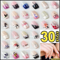 Natural Tips acrylic nail tip designs - 5x set Pre Designed French Acrylic False Nail Full Tips with Free Nail Glue