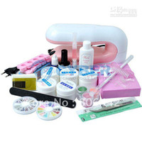 Wholesale New W V V UV Gel Set Kit Acrylic Powder UV Lamp Top Coat Glitter Nail Art Buffer Manicure F