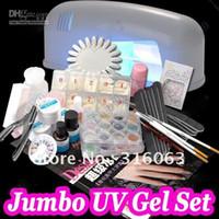 Wholesale professional UV Gel set Glitter Pen Clipper File Nail Full Kits W UV Gel Curing Lamp UV Lamp p
