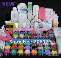 Wholesale UV GEL NAIL KIT Powders Glues FILE BLOCKS Primer Tips Set clippers Free shippi