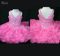 Real Photos Baby Organza Custom made shining beaded bodice tiered ruched little kids pageant gowns girl's party prom gowns