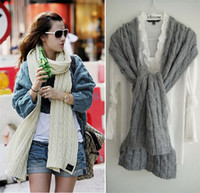 Wholesale Wave Pattern Wool Muffler Solid Color Scarf Thick Shawl Lengthen Bib Scarves Mufflers