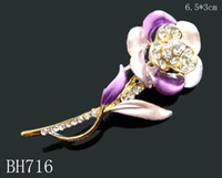 Wholesale Gold plating Oil painting set auger Cute girl rhinestone alloy flower brooch costume jewelry mixed color BH716