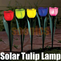 Wholesale Lantern Outdoor Garden Path Way Solar Powered LED Tulip Landscape Flower Lights