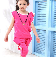 Wholesale children clothes set kids clothing One shoulder roses of the girls chiffon Suits with short sleeves