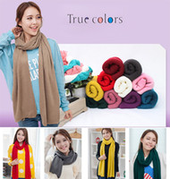 Wholesale Cashmere Imitation Wool Muffler Solid Color Scarf Thick Shawl Lengthen Bib Scarves