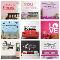 Wholesale Mix order Removable Wall Quote Decal Vinyl Nusery Room Wall Art Sticker Decor x60cm