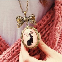 Wholesale Fashion Jewelry Retro Bow Phase Box Bunny Necklace Sweater chain