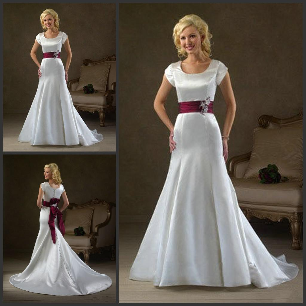 2013 Sheath Wedding Dress Jewel Collar Short Sleeves White Red ...