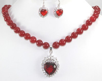 Wholesale Fashion prom jewelry sets K White God GP Red Ruby Round Gem Necklace amp Earrings