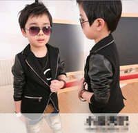 Wholesale New boys leisure suit cotton and leather Splice Jacket zipper side cloth cool black color Y8020