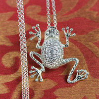 Wholesale Sweater Chain Necklaces Cheap - Women Frog Long Sweater Necklaces Rhinestone Pendant Plated Silver Chain Necklace The Cheap