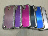 Metal For Samsung  Luxury Meltal Wire drawing Shining Diamond Hard Back Case For Samsung Galaxy S4 i9500