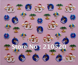 Free shipping 24 Sheets  Pack Different Color Father Christmas Bell Tree Snow Design 3D Nail Art Sti