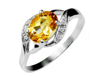 Women's Wedding Size Selectable Sterling Silver Natural Citrine Ring Gemstone Rings