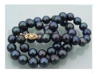 Beaded Necklaces akoya black pearls - Hot sell inch AAA mm Akoya Black Natural Cultured Pearl Necklace K gold clasp