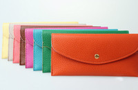 Wholesale Newest Candy colors purse fashion woman envelope leather wallet