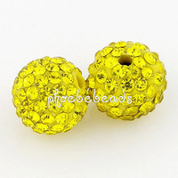 loose shamballa beads - New Shamballa Micro Pave Beads Yellow Crystal Loose Beads