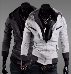 Wholesale New Arrive Korean Style Brocade Hit Color Mosaic Hooded Slim Fit Stylish Black White