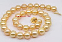 Wholesale AAAAA18 quot mm NATURAL south sea golden Champagne Yellow pearl necklace K