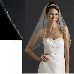Wholesale Elbow Length One layer exquisit Beaded wedding bridal veil