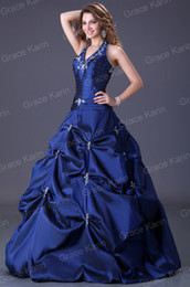 Wholesale High Quality Taffeta Wedding Dress Royal Blue Quinceanera Dresses Halter Design Ruched Appliques Ball Gown CL3108