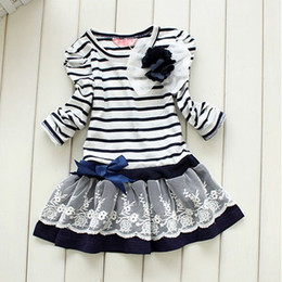 Wholesale 2013 striped baby dresses stripe dress bow girls dresses one piece dress children s dress