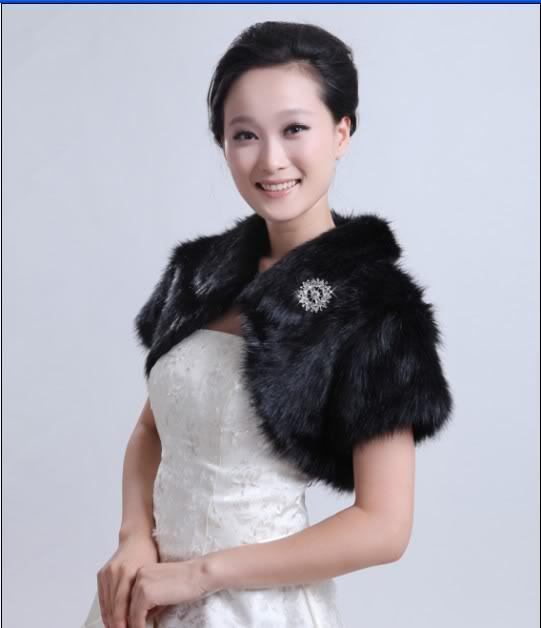 2016 New Black Faux Fur Shrug Cape Stole Wrap Special Occasion Wedding Bridal Shawl From