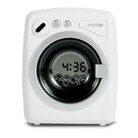 Wholesale 2013 New White Creative Mini Washing Machine Style Vibration Music Alarm Clock