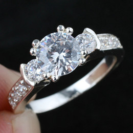 Women 3-Stone White Topaz Promise Band Silver Ring Size 6 Wed J8041 Super Price