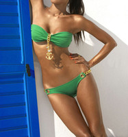 Wholesale Sexy Ladies Swimwear Padded Bandeau Bikini Green Links Bikini Bottom Bathing Suit S M L