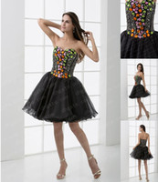 Wholesale 2013 Black Cocktail Dresses A Line Sweetheart Colored Rhinestone Short Mini Homecoming Dresses DH026