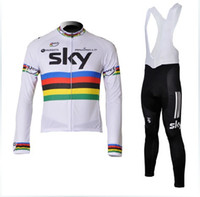 Wholesale 2012 sky pinarello markets black uci Cycling Jersey Long Sleeve Cycling bib Pants Kits New Sky cycling clothing Bib Pants