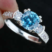 Wholesale Womens Round Blue Topaz Wedding Band Silver Ring Size Wed J8044 Sales Promotion