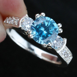 Womens Round Blue Topaz Wedding Band Silver Ring Size 6 Wed J8044 Sales Promotion