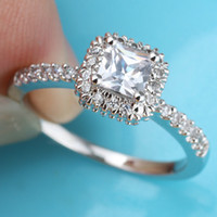 Wholesale Women Square White Topaz Stone Promise Silver Ring Size Wed J7767 Price Order