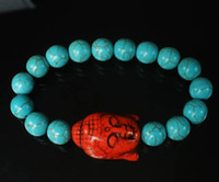 Wholesale Turquoise Stone Red Buddha Baby Blue Round Beads Stretchy Prayer Mala Bracelet ZZ2211 AHM