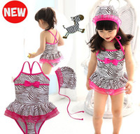 Wholesale girls cute swimming skirt Children s girls swimwear zebra strap with cap T T sets