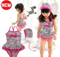 Wholesale girls cute swimming skirt Children s girls swimwear zebra strap with cap T T sets