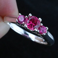 Wholesale Ladies Stone Round Red Ruby Anniversary Finger Silver Ring Size Wed J7727