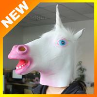 Wholesale Creepy Unicorn Costumes - 2016 new Creepy Horse Unicorn Mask Head Halloween Party Costume Theater Prop Novelty Latex Rubber White color