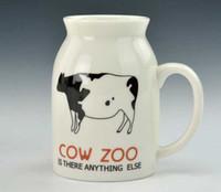 ECO Friendly white ceramic mug - Zakka style cute cow ceramic mug cartoon graphic patterns milk cup