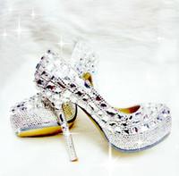 PU Heel Women Wedding Sparkly Glitter Silver High Heels For Prom Rhinestone Wedding Shoes Custom