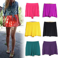Wholesale New Summer Women Casual Candy Colours Mini Short Culottes Elastic Waist Pant