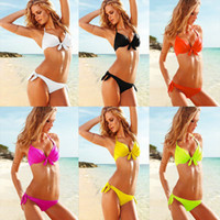 Women Bikinis Striped Newest Style 6colors Tie-Front Push-up Bandeau womens Bikini top Bottom Swimwear S M L