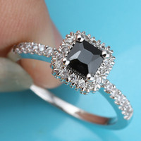 Party banded onyx - Women Square Black Onyx Engagement Band Silver Ring Size Wed J7770 Factory Store