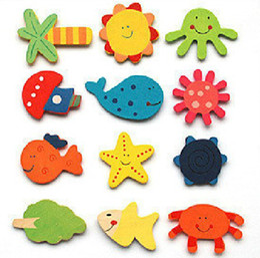 Wholesale Cute Animal Stickers - free shipping 480pcs lot Cute animal Wooden fridge magnet Memo Sticker