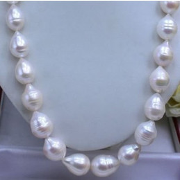 "pearl jewelry 20""INCH HUGE 13-15MM REAL SOUTH SEA WHITE PEARL NECKLACE 14K"