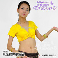 Wholesale Belly dance women clothing set practice Indian dance clothes short sleeved cotton bandage
